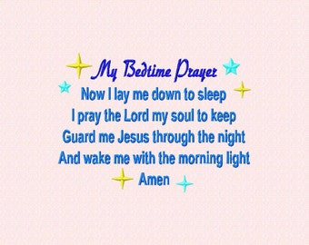 Instant Download Embroidery Design: Child Bedtime Prayer, Catholic, Christian bedtime prayer, as i lay me down to sleep