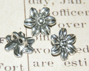 4 flower separators double strand metal silver 13x7mm