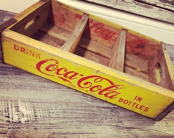Vintage 1968 Yellow Drink Coca Cola in Bottles Have a Coke Wood Soda Crates (169)
