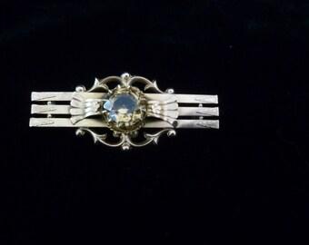 Antique Edwardian 9k Gold Natural Citrine Bar Brooch, 9ct Gold Brooch, Edwardian Jewellery, Antique Jewelry
