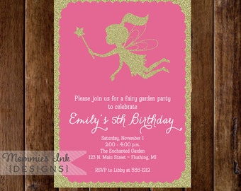 Gold Glitter Fairy 5th Birthday Party Invitation - Fairy Garden Party Invite - Girl's Invite - Printable Invitation Design