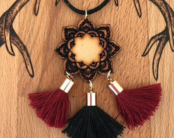 Wooden mandala necklace boho gypsy with burgundy and black tassels