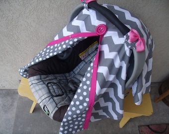Carseat Canopy / car seat canopy / car seat cover / carseat cover / nursing cover / infant car seat Chevron with Hot Pink Girl