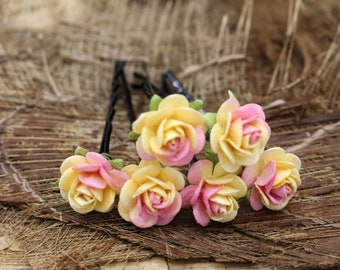 Yellow  Pink  Roses, Mulberry Paper Flower Hair Pins , Bridal Hair Pins, Hair Bobby Pins,Prom,Bridal Hair Accessories (FL417)