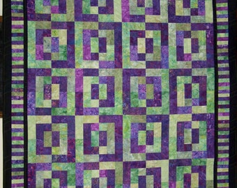 "Batik Squares Lap or Wall Quilt - 72"" x 61"""