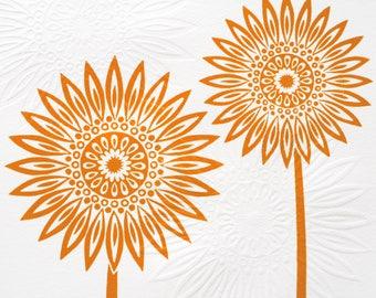 Orange Sunflower Lino & Hand Embossed Print