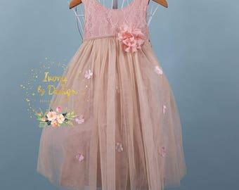 Blush Pink Flower girl Dress Girl Party Dress Tulle long length Sleeveless Design