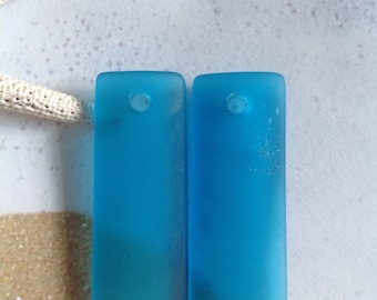 34x14mm sea glass beads~2pc beach glass pendant~blue drilled seaglass~frosted,tumbled blue sea bead~recycled cultured rectangle glass~supply