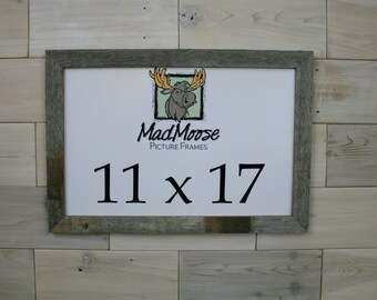 """11x17 BarnWood [Thin x 1.25""""]  Picture Frame . . . (tags: antique reclaimed weathered barn wood frame rustic cabin frame)"""