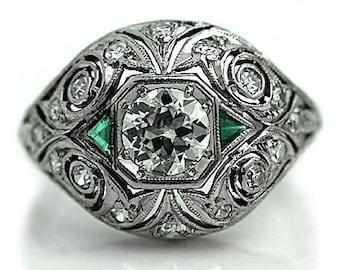 Antique Emerald Engagement Ring Art Deco Emerald & Old European Cut Diamond 1.20ctw Antique Platinum Filigree Ring Size 5!