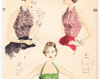 Vintage 1952 Vogue 7355 FF Sewing Pattern Misses' Halter, Peplum Blouse Size 12 Bust 30