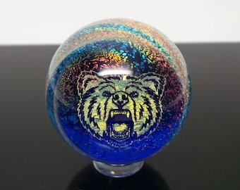 40mm Rainbow Call of the Wild Dichroic Swirl Borosilicate Glass Lampworked Marble