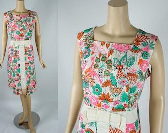 1960s Vintage Dress A Line Polished Cotton Floral VOLUPE Sz 18 B46 W38