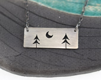 Two Open Pine Trees with Crescent Moon rectangle bar sterling silver tree art pendant