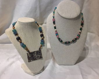 Floral Butterly and Rose Earth Tones Beaded Necklace Duo on Sale