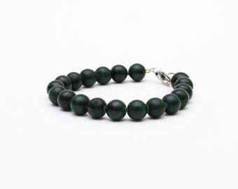 Malachite Bracelet, Malachite Beads, Green Beaded Bracelet, Hand Knotted Mala, Green Stone Bracelet, Natural Stone, Chakra Bracelet,Talisman