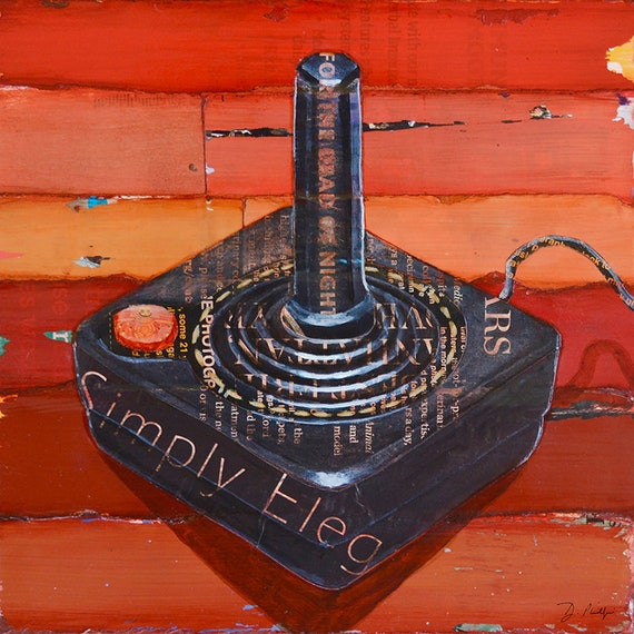 JOYstick - Retro Vintage Atari Game Controller Gaming ART PRINT wall decor mixed media collage painting  print, gaming gift, All Sizes