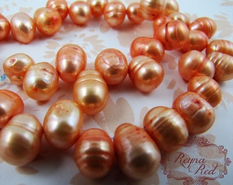 Bright Tangerine Top Drilled Dyed Freshwater Pearl Beads, orange pearls, potato pearls, beading, jewelry making - reynaredsupplies