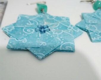 Origami Pendant Earrings, Snowflake