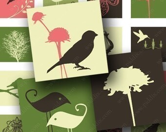 Modern Spring Birds and Swirls Digital Collage Sheet in .85 Inch Squares Pink Green Brown Trees Nature for Scrabble Tiles & More piddix 534