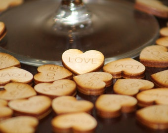 "Confetti Hearts ""Love"" Engraved on Wood (Set of 100)"