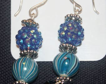 Blue glass earrings with two small amathyst round glass beads