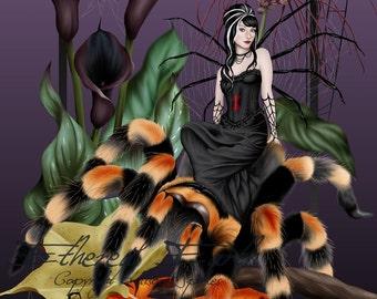 Spider Fairy Weaver Goth Tarantula Black Widow Halloween - Fine Art Fantasy Giclee Print