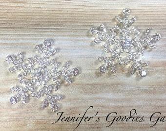 Clear Rhinestone Snowflakes, 24mm, Flatback Embellishments, Snowflake Buttons, Crystal Snowflakes, Snowflake Embellishments, DIY Crafts