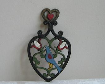 Vintage Cast Iron Trivet Pot Holder Black Heart Bird Tulips, Hand Painted Scandinavian Folk Art, Bohemian Wall Art