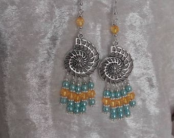 fossil dangle earrings silver metal and beads