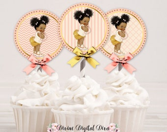 Cupcake Topper Circles | Peach Ivory Gold | African American Baby Girl Afro Puffs | Digital Instant Download
