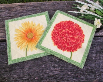 Spring Blooms Quilted Mug Rugs - set of 2
