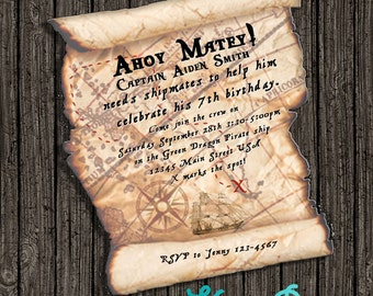 Pirate Map Party Invitation - Instantly Downloadable and Editable File Personalize with Adobe Reader