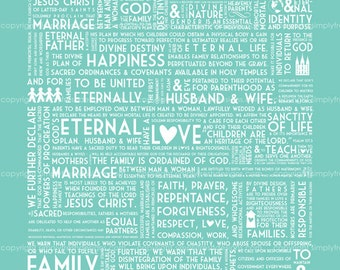 LDS Family Proclamation - 12 colors included - Instant Download
