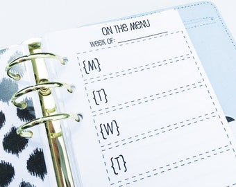 Printed Personal Size Meal Planning & Grocery List Inserts