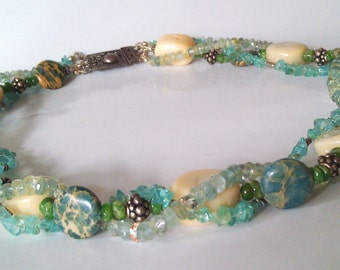 Coral Gemstone Sea Garden  Necklace SALE!