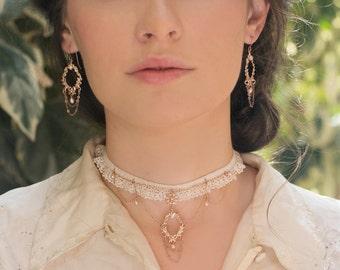 Rose Gold Bridal Earrings, Chandelier Bridal Earrings, Bridal Dangle Earrings, Vintage Earring, Delicate Bridal Earrings, Wedding Earrings
