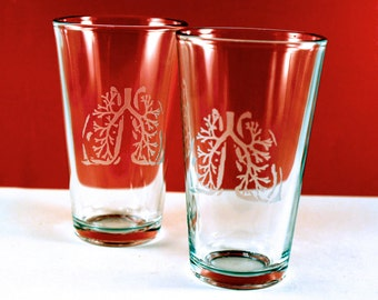 2 Anatomical Lungs Etched Pint Glasses