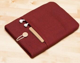 Galaxy Tab sleeve case, Galaxy Book sleeve / Galaxy Tab E 9.6 / Galaxy Tab S3  / Flannel maroon