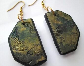 Distressed Butterfly Earrings, Polymer Clay Earrings, Golden Earrings, Jewelry, Gift for Her, Mom Gift