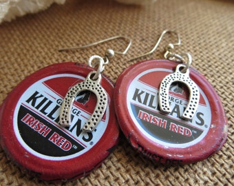 IRISH GOOD LUCK -- Killian's Irish Red Bottle Cap Earrings with Horseshoe Charms