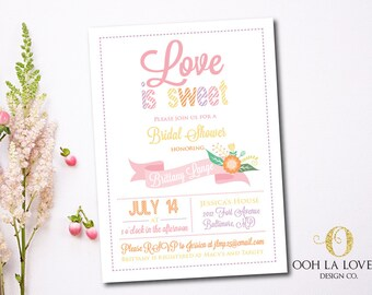 LOVE IS SWEET Bridal Shower Invitation, Bridal Shower invite, Printable, pdf, diy, Printed Bridal Shower Invites, Colorful Bridal Invite