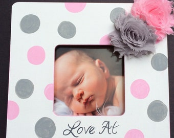 Polka Dot Grey Ultrasound Grandparent, New parents gift, Picture Frame Sonogram New Baby Announcement, Love at first Sight
