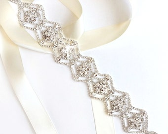 Sash - Scalloped Rhinestone Wedding Dress Sash - Silver Rhinestone Encrusted Bridal Belt Sash - Crystal Wide Wedding Belt - Long