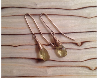 Gold wire wrapped citrine briolette earrings