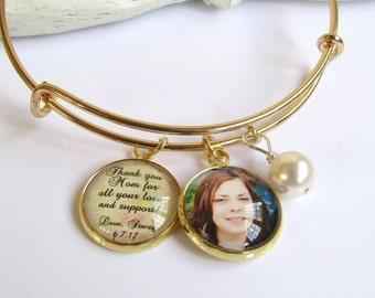 Mutter der Brautgeschenk, Gold Armreif, personalisierte Foto-Armband