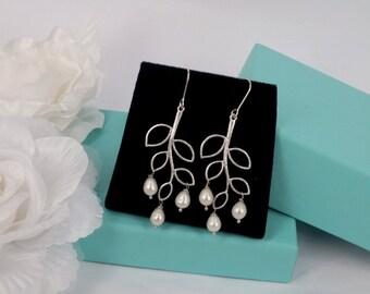 Freshwater Pearl Matte Silver Leaves Earrings