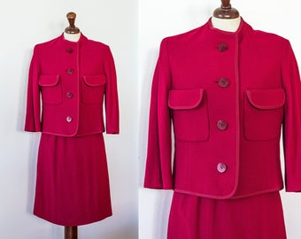 Vintage 1950s Skirt Suit | Red Wiggle Suit | Wool Suit Two Piece Jackie O Set High Waist Pencil Skirt XS