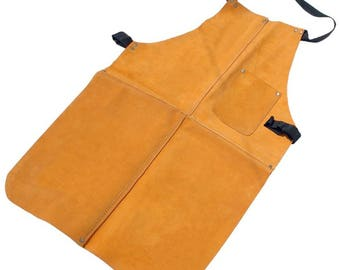 "Leather Apron Large 19"" x 32"" Jewellery Hobbies Craft Welding Pocket"