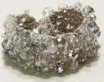 Bridal Jewelry, WINTER WONDERLAND Wedding, Sparkling  Ice Quartz Crystal Soft Hand Knit Cuff Bracelet  by Sereba Designs